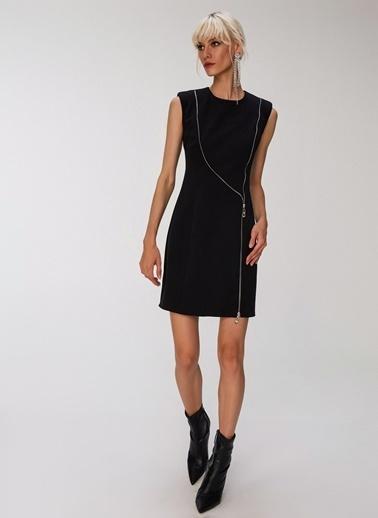 People By Fabrika Fermuar Detaylı Elbise Siyah